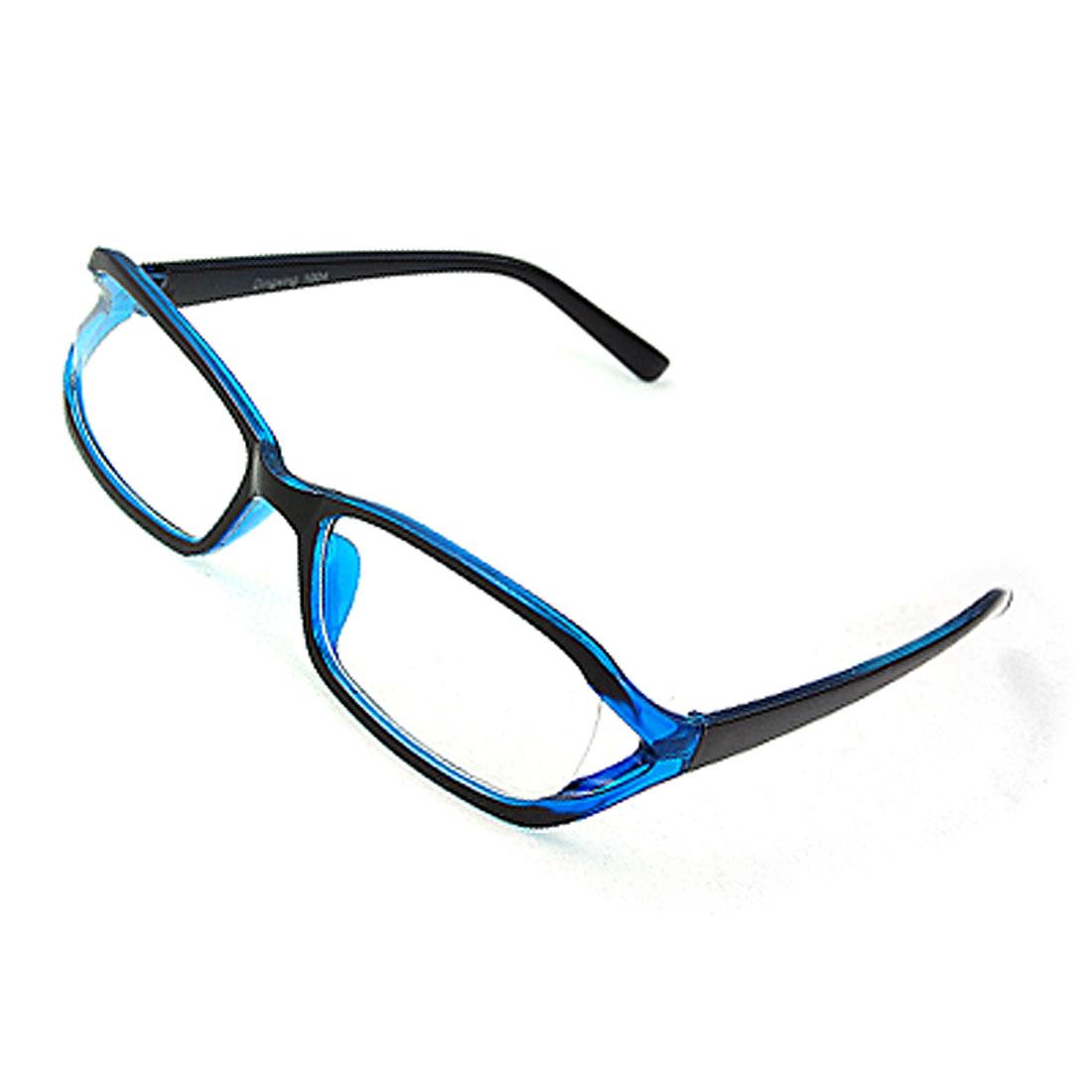 Black Blue Plastic Frame Unisex Clear Lens Glasses Eyeglasses