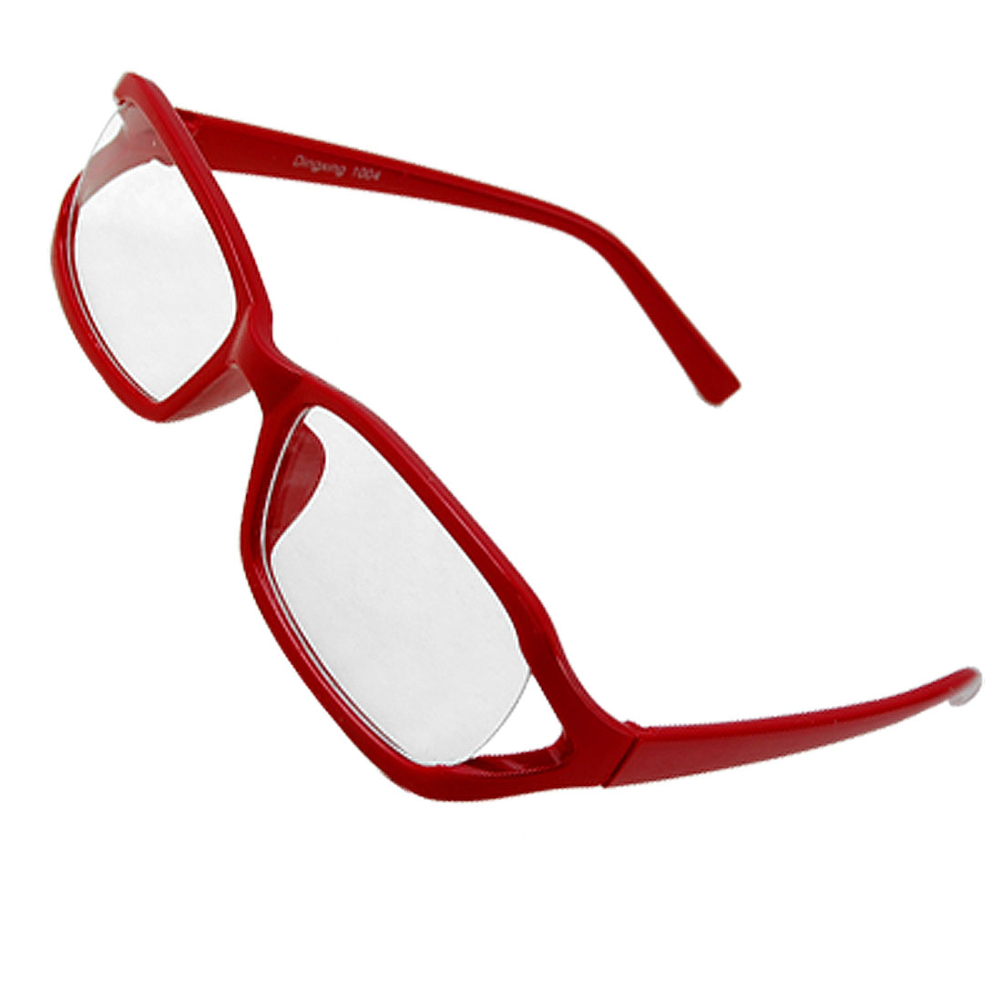 Red Frame Slim Arms Clear Lens Glasses Spring Temple