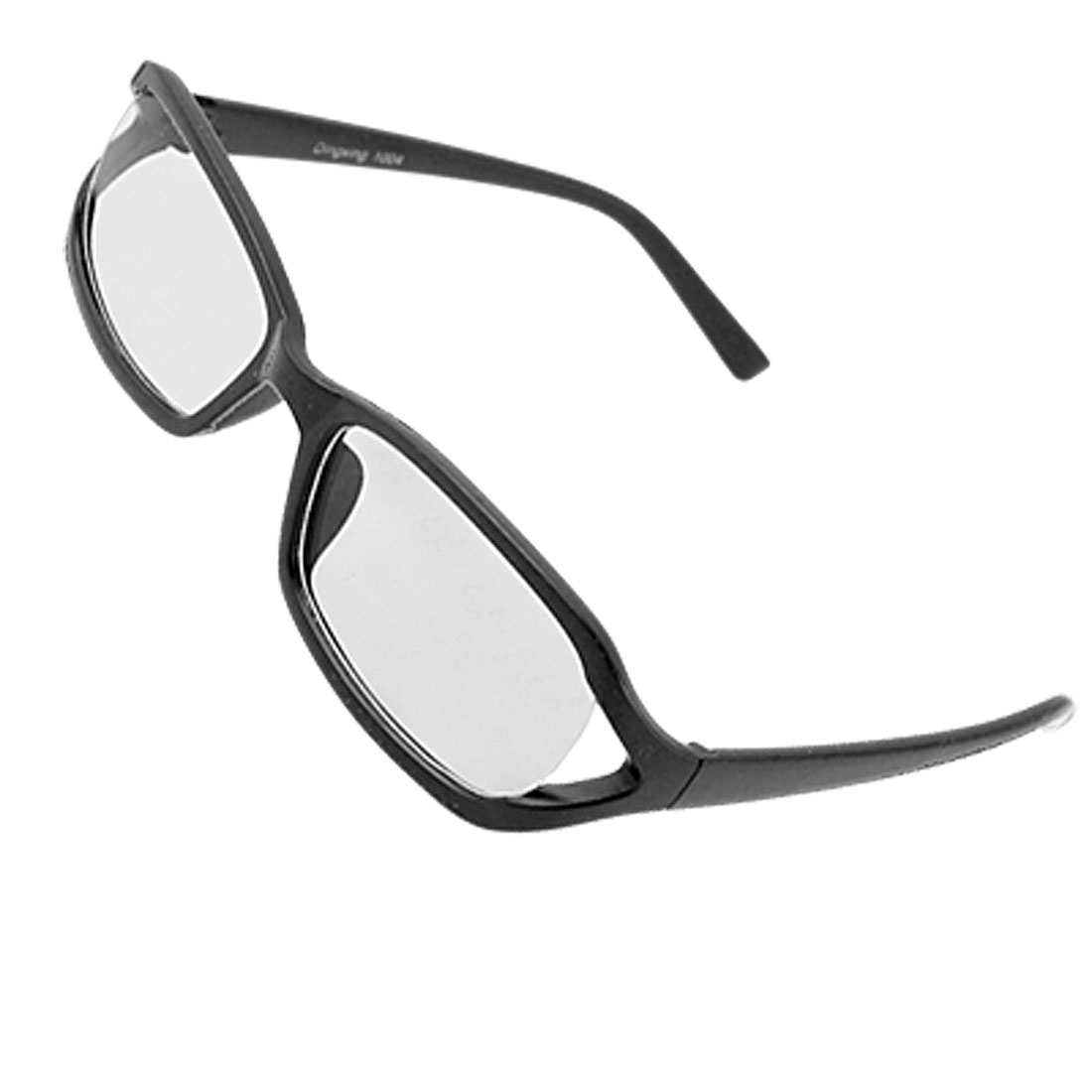 Black Rubberized Plastic Frame Unisex Clear Lens Glasses