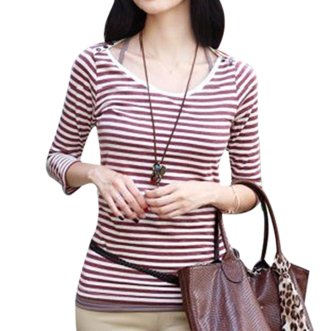 Red White Stripe Button Shoulder Bracelet Sleeve Lady Top Shirt