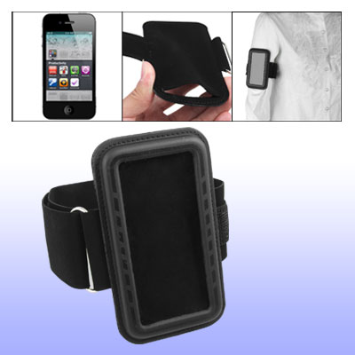 Black Comfy Sports Armband Hook and Loop Fastener Fasten Holder for Cell Phone