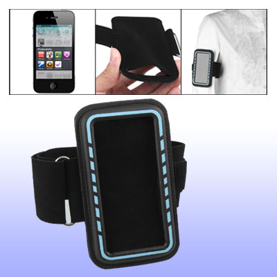 Blue Edge Black Adjustable Sports Armband Holder for Cell Phone