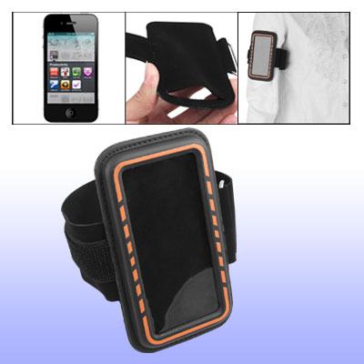 Adjustable Sports Armband Holder Black W Orange Edge for Cell Phone