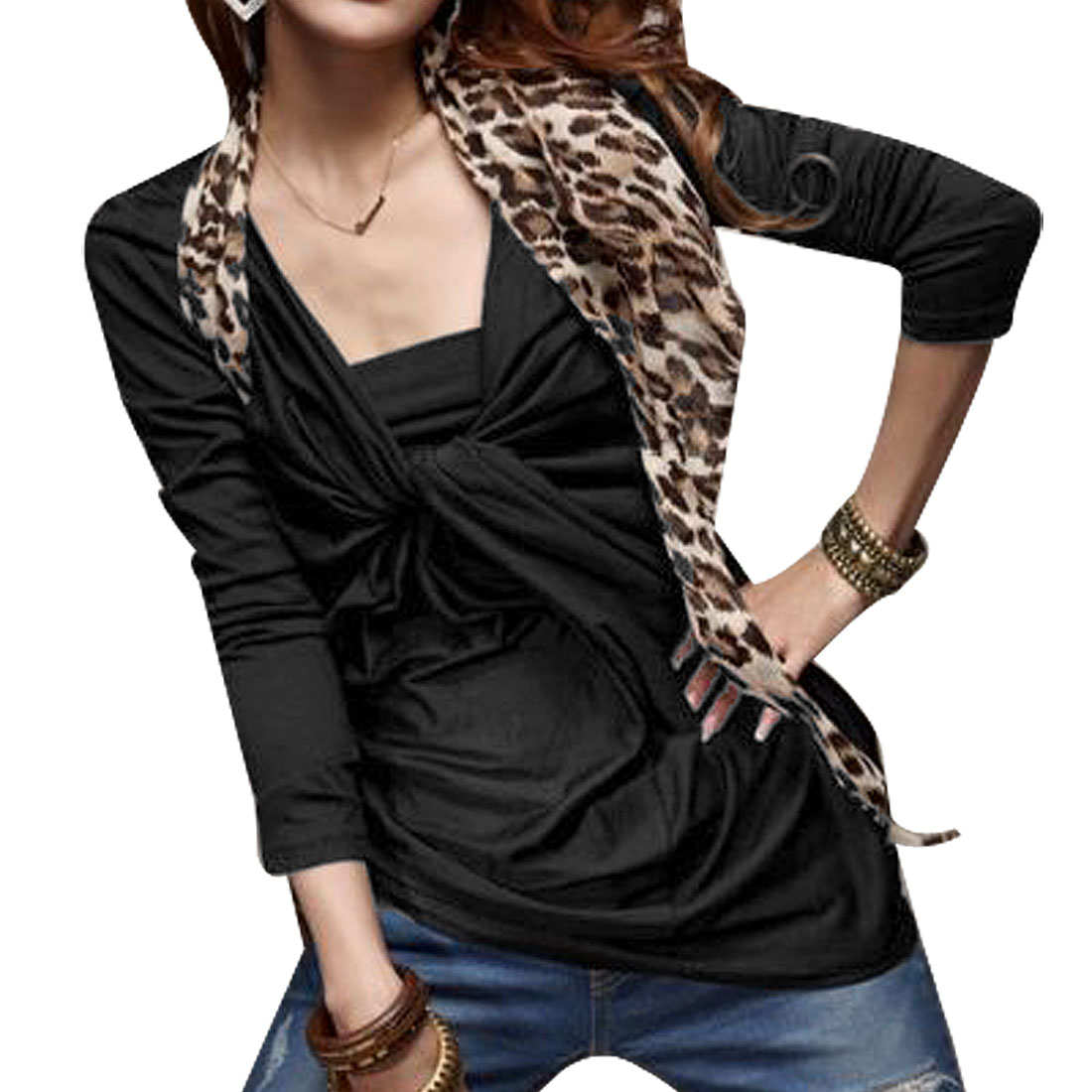 Solid Color Black Pleated Style Shirt Top for Ladies XS