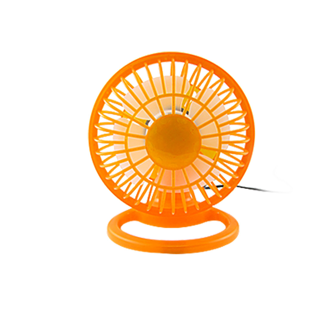 Orange Plastic USB 4 Blades ON/OFF Angle Adjustable Mini Desk Fan