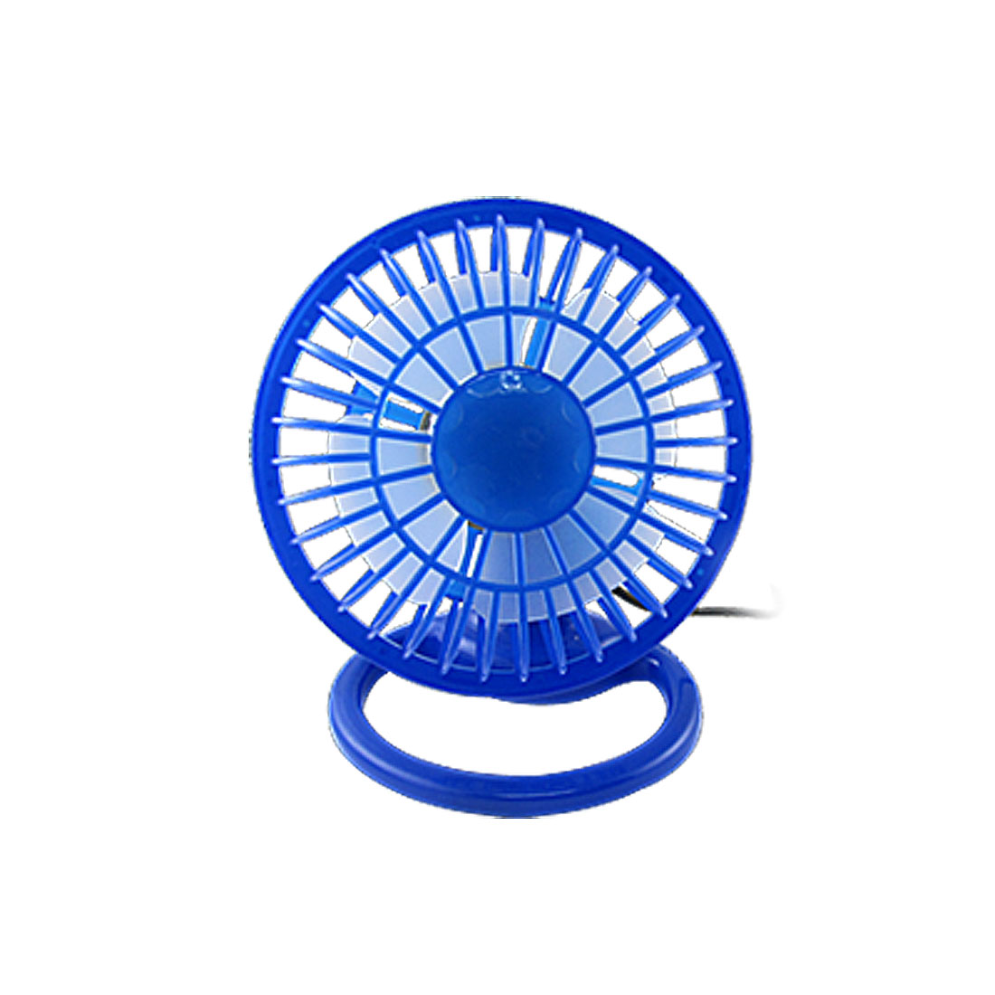 Angle Adjustable Blue 4 Blades Plastic ON/OFF Mini USB Desk Fan