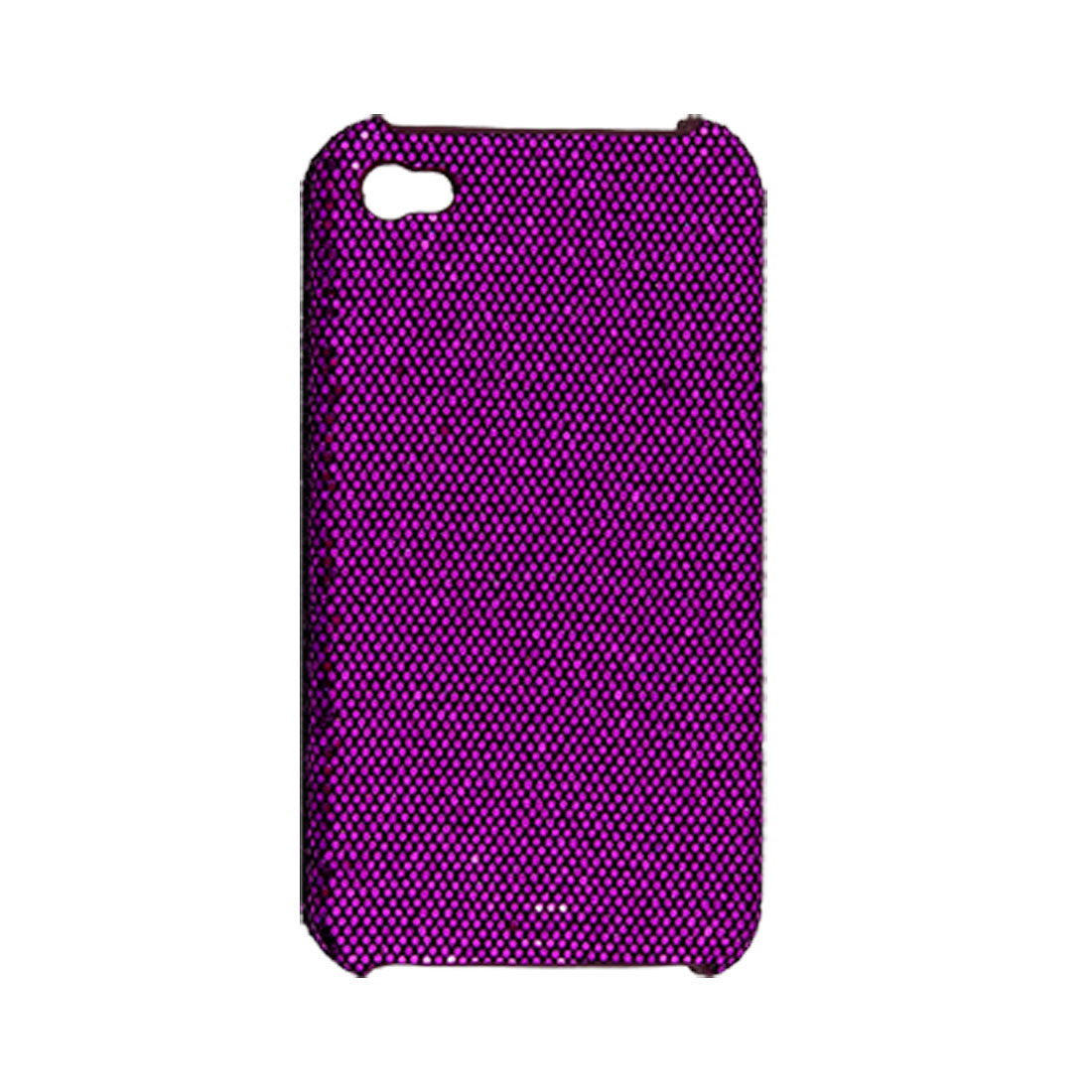 Rubberized Hard Plastic w Purple Glittery Sequin Back Case for iPhone 4 4G
