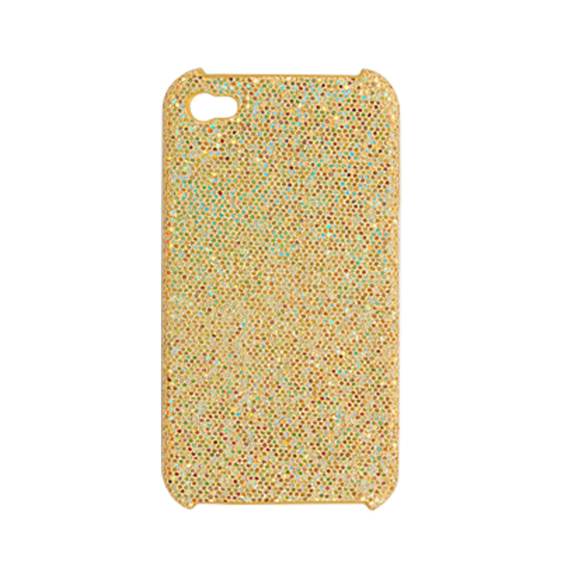 Gold Tone Sequin Decor Rubberized Hard Plastic Back Case for iPhone 4 4G