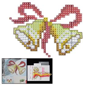 Double Bell Style Colored Cross Stitch Badge Soluble Canvas