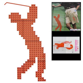 Soluble Canvas Play Golf Orange Red Cross Stitch Kit