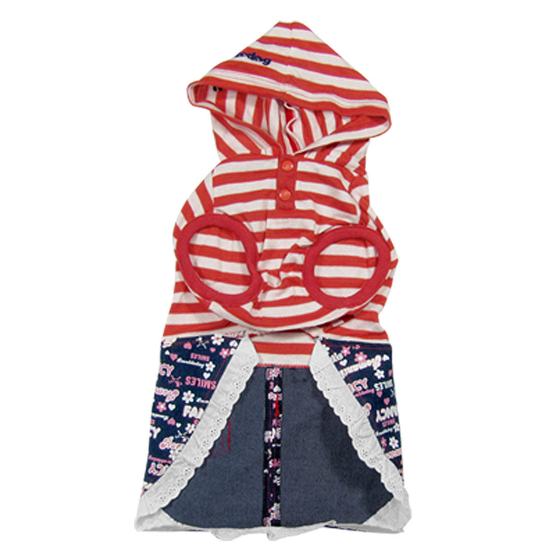 Size L Summer Red Stripe Pet Dog Apparel Hooded Shirts Jean Skirts Dress