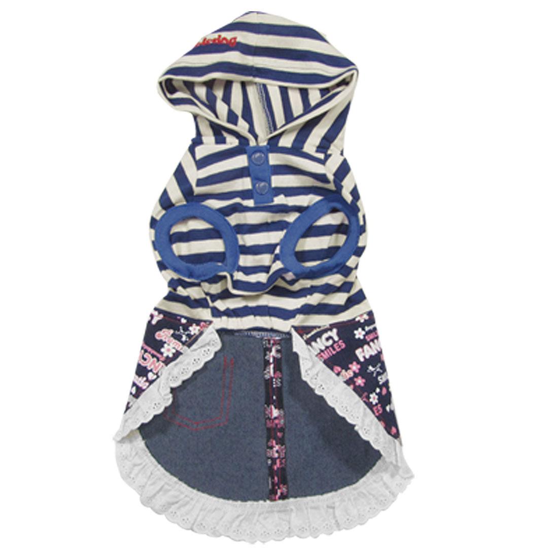 Blue Stripes Pet Dog Apparel Hooded Shirts Skirts Dress Lace Hem Size L