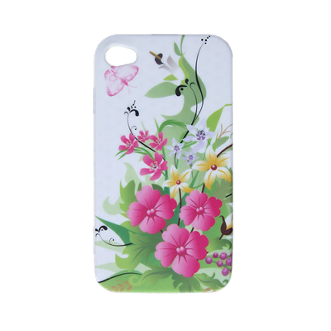 White Nonslip Inner Soft Plastic Back Flower Case for iPhone 4 4G