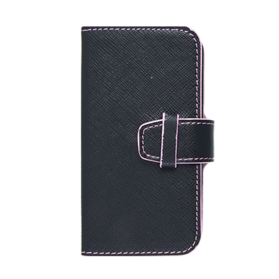 Black Faux Leather Pink Hem Horizontal Pouch Case for iPhone 4 4G