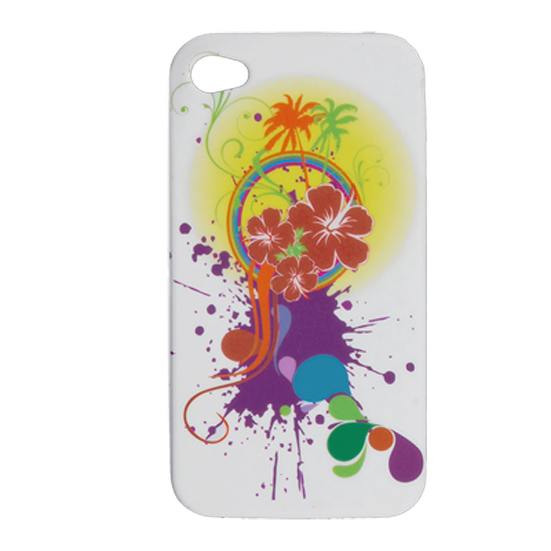 Rainbow Flower Print Soft Plastic Case + Screen Guard for iPhone 4 4G
