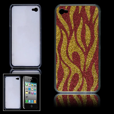 Hard Plastic Red Gold Tone Shiny Zebra Pattern Back Case for iPhone 4 4G