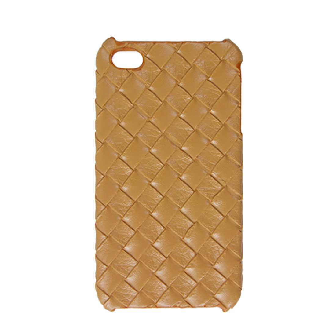Nonslip Woven Pattern Hard Plastic Back Cover Brown for iPhone 4 4G