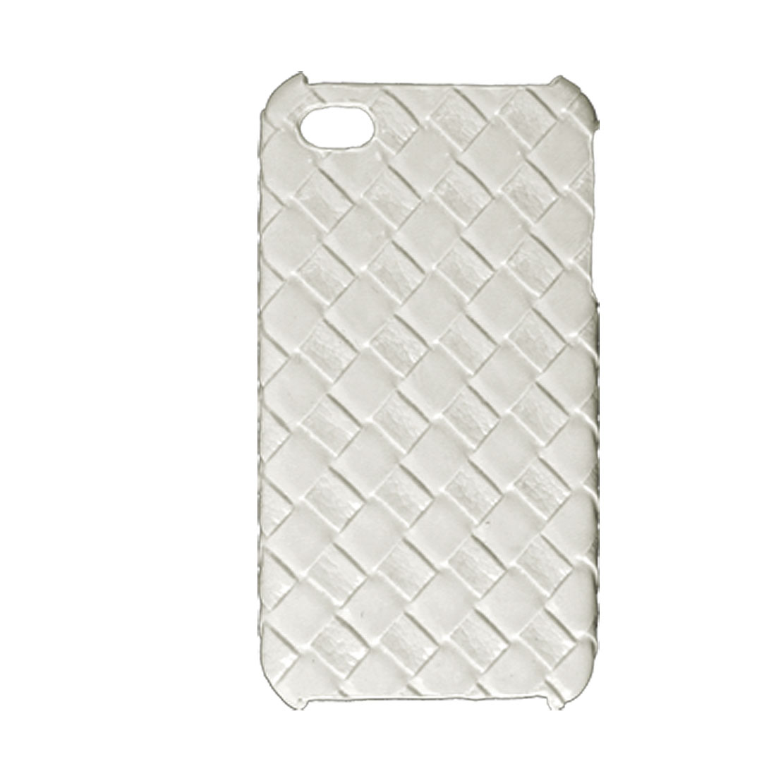 Woven Print Faux Leather Coated Hard Back Case White for iPhone 4 4G