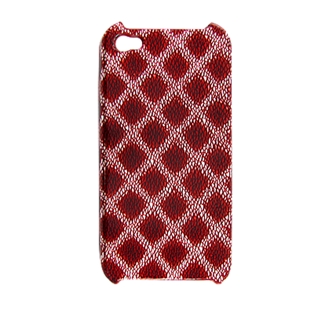 Red Argyle Faux Leather Coated Plastic Back Case for iPhone 4 4G