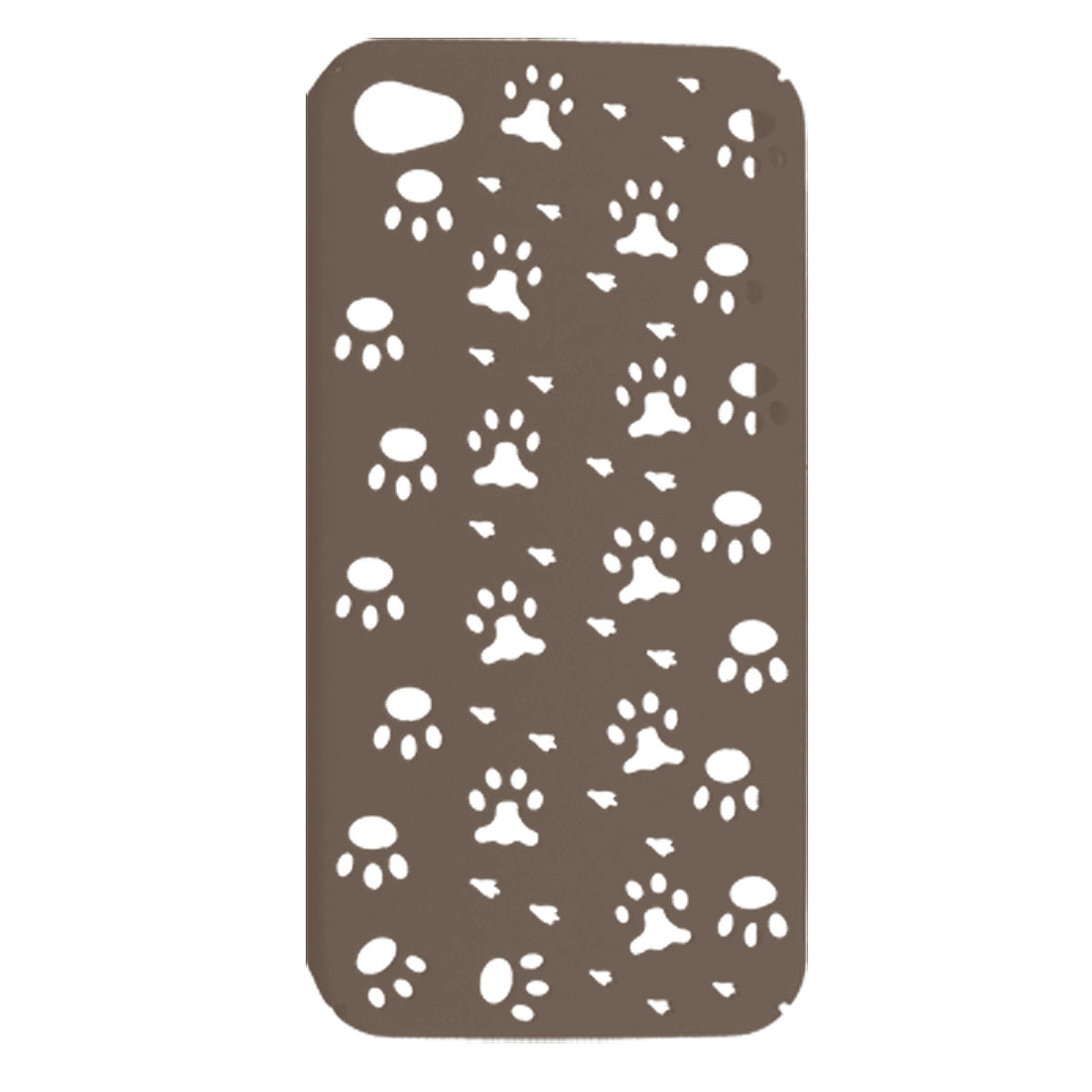 Chocolate Rubberized Plastic Paw Hole Style Back Case + 12V Car Charger for iPhone 4 4G