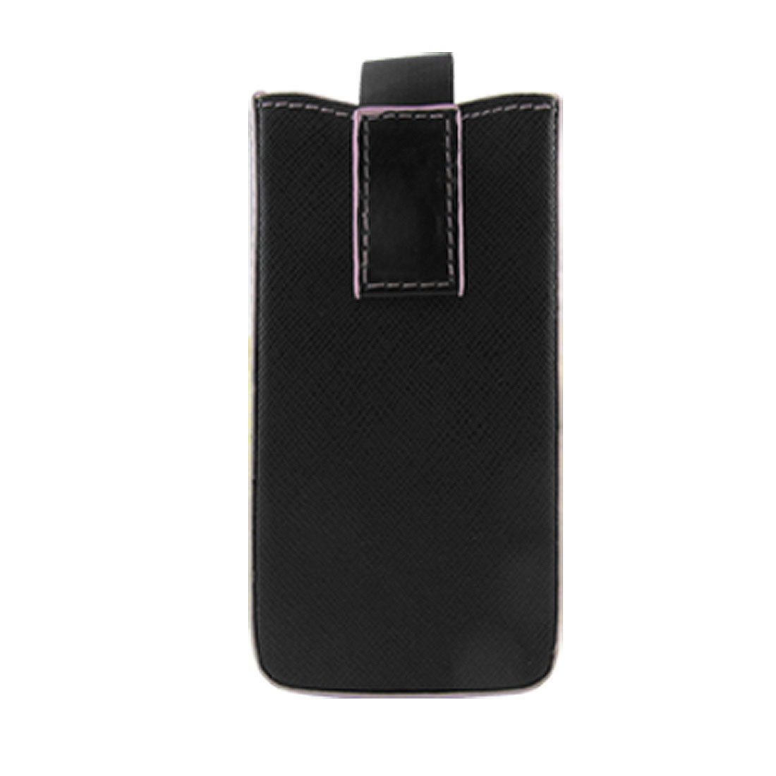 Black Faux Leather Pink Edge Pull Up Pouch for iPhone 4