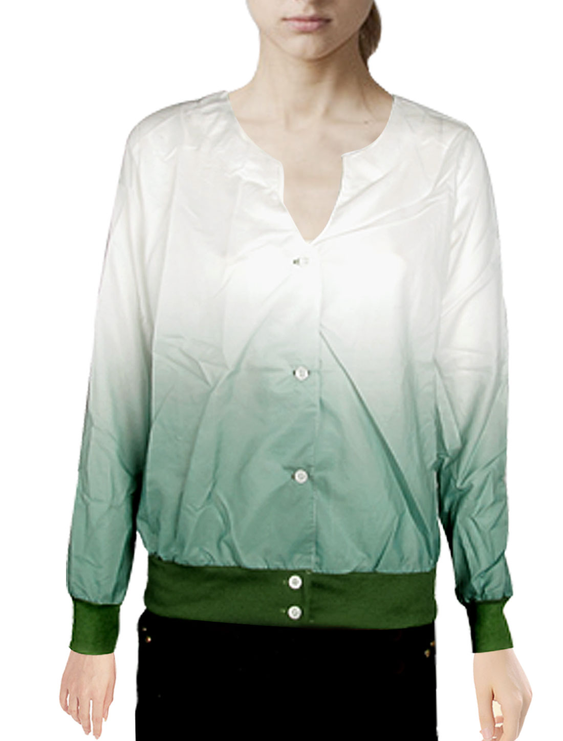 Button Closure Long Sleeves Green White Small Coat XS for Lady