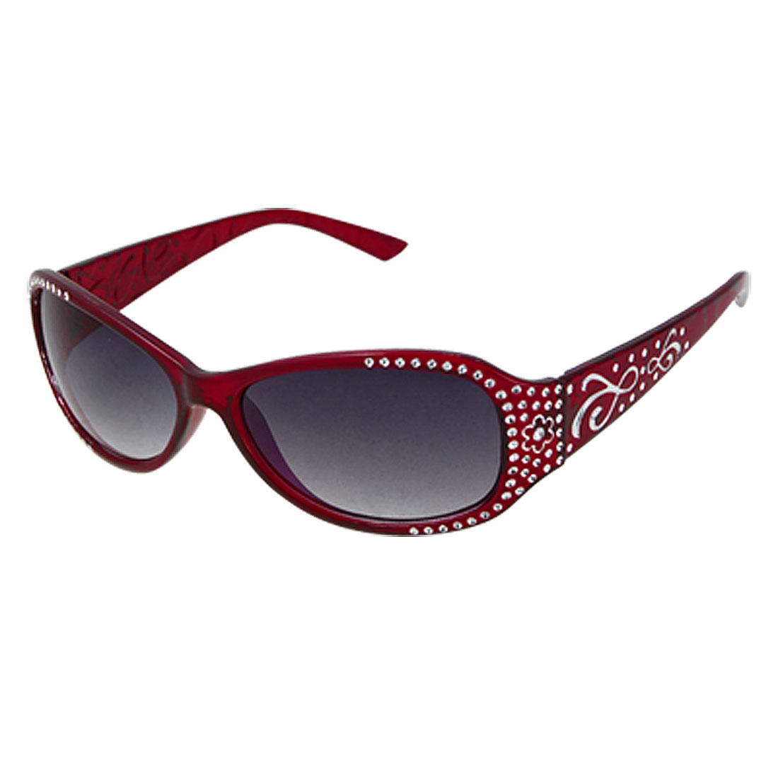 Ladies Gray Lens Sunglasses Glittery Detailing Burgundy Frame Eyewear