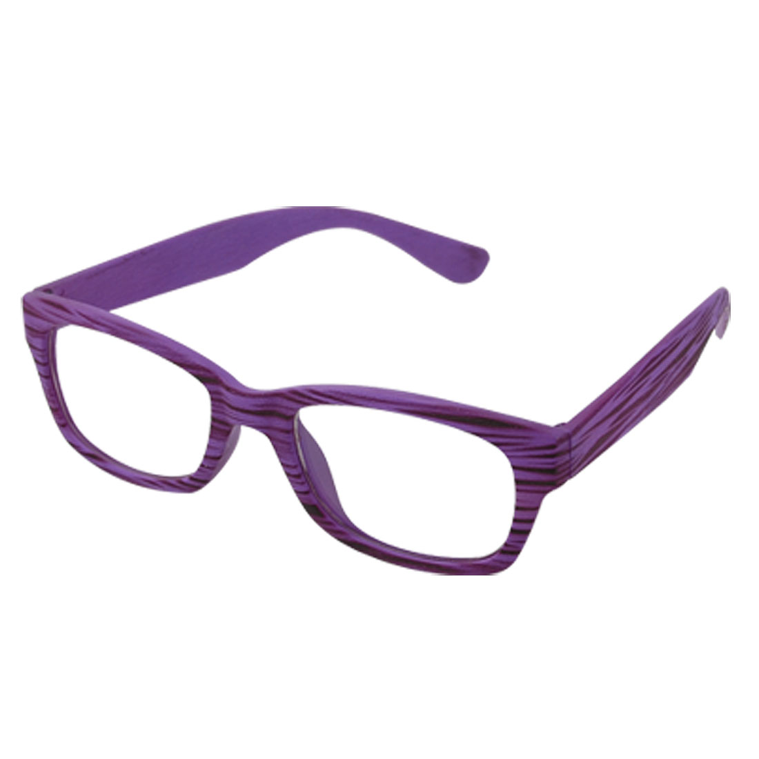 Unisex Clear Lens Purple Frame Eyewear Full Rim Plain Glasses