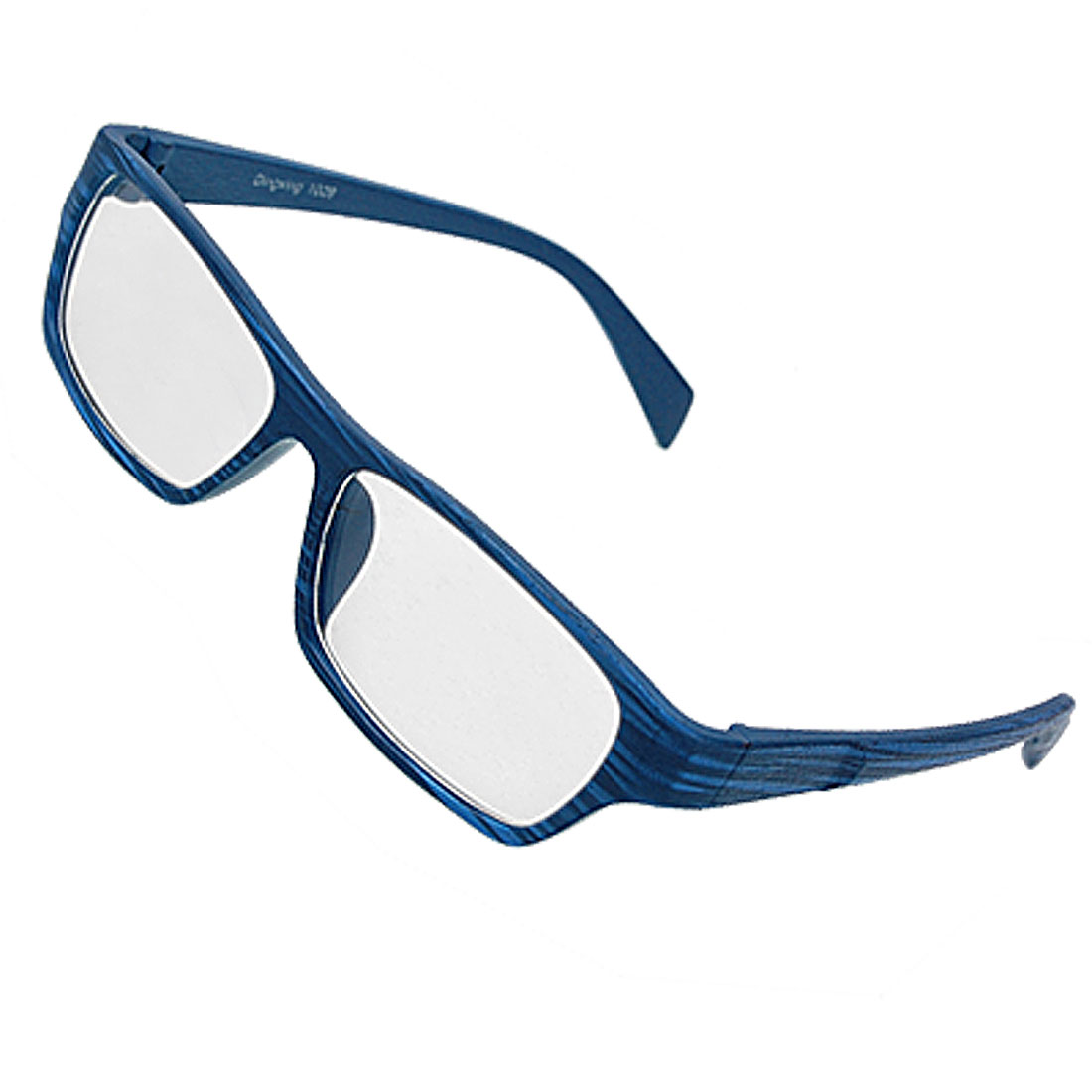 Rectangle Blue Wood Grain Full Rim Unisex Eyeglasses