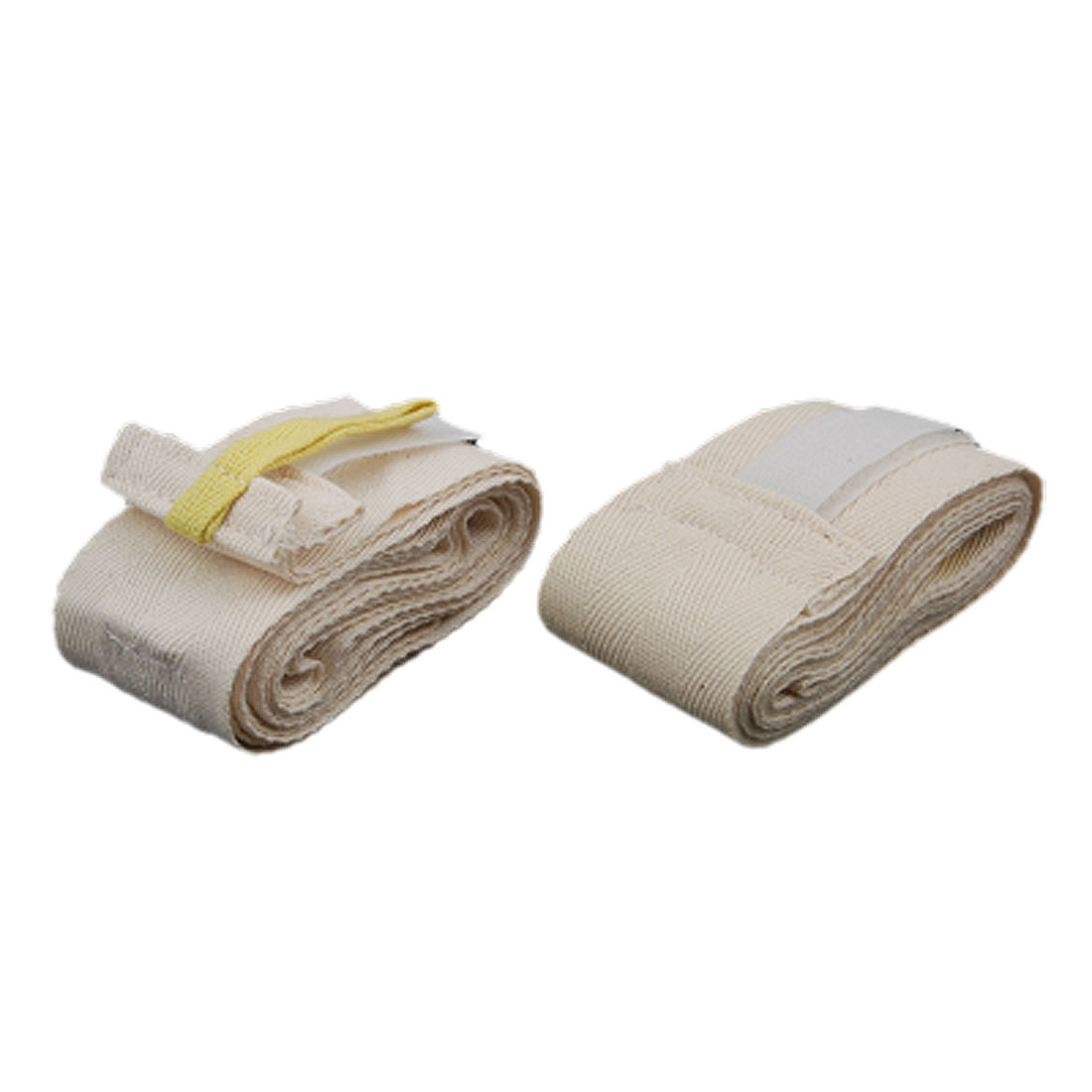 2 Pcs 220CM Martial Arts Beige Karate Taekwondo Belt W Hook and Loop Fastener