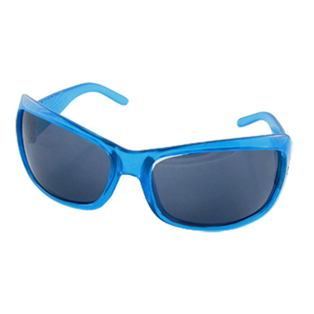 Blue Plastic Full Rim Black Lens UV Protection Sunglasses for Children
