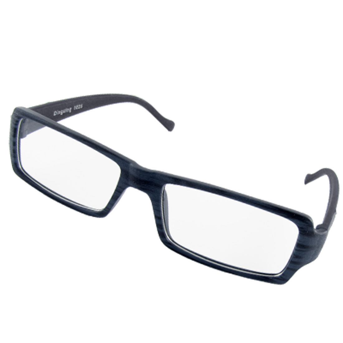 Unisex Dark Navy Blue Wood Grain Plastic Frame Plain Eyeglasses