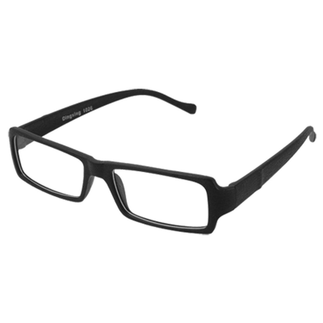 Rectangle Lens Black Wood Pattern Plastic Frame Glasses
