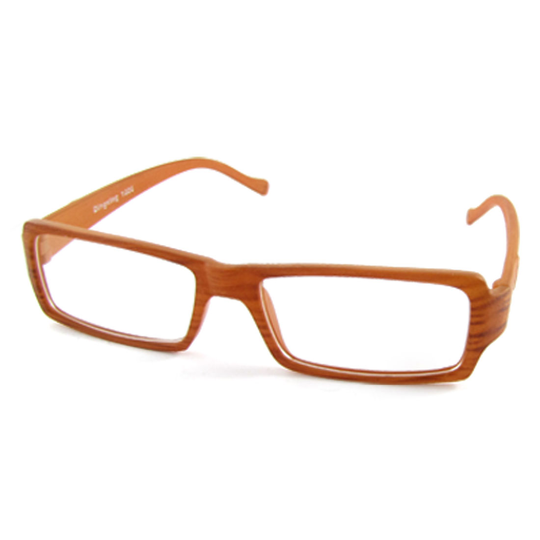 Unisex Brown Wood Grain Frame Plain Spectacles Rectangle Eyeglasses