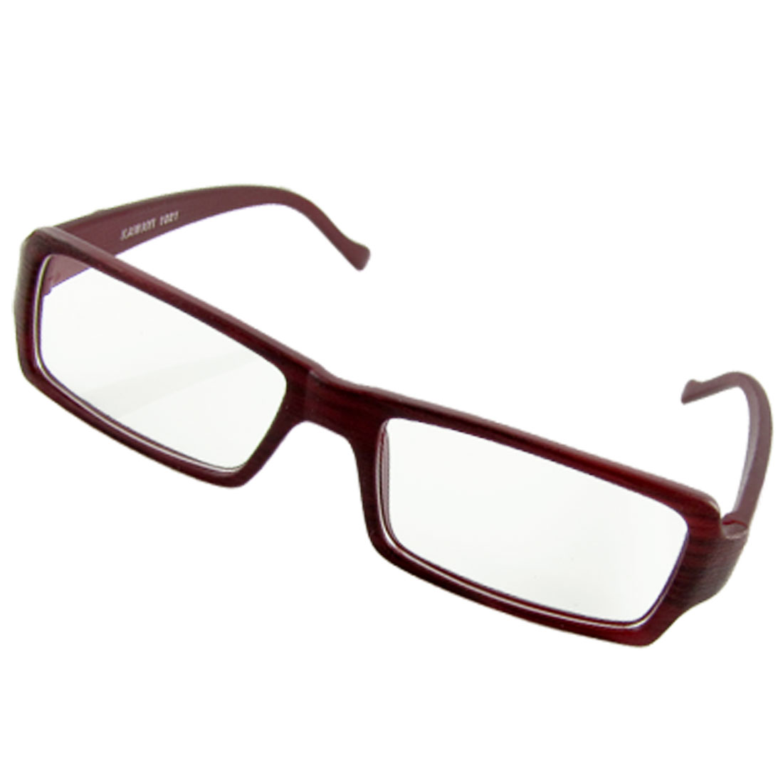 Unisex Burgundy Wood Grain Full Rim Eyeglasses Plain Spectacles