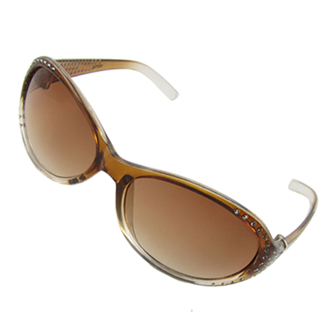 Glittery Detailing Plastic Frame Clear Brown Lens Sunglasses for Ladies