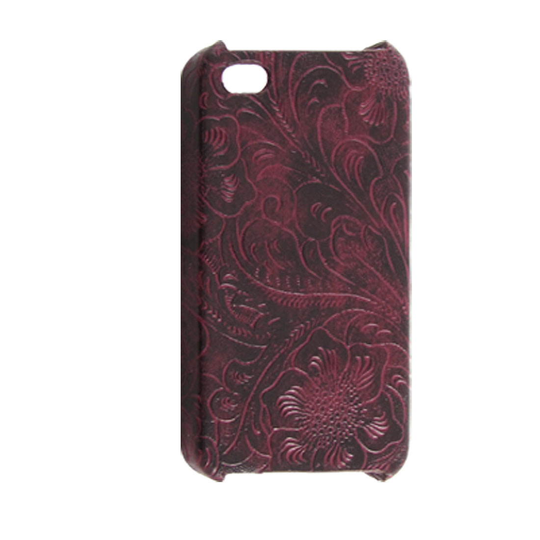 Hard Plastic Faux Leather Coated Back Cover iPhone 4 4G