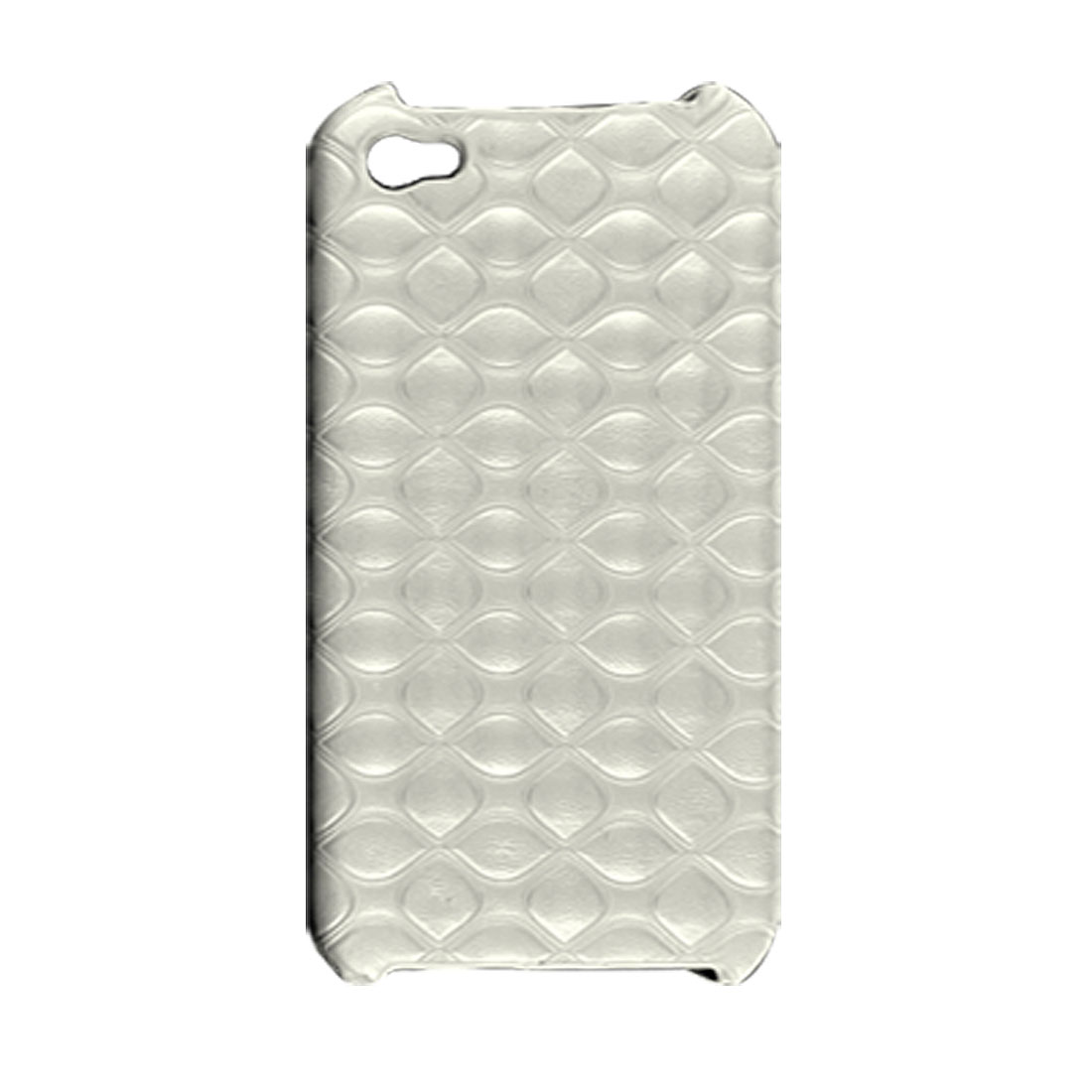 White Faux Leather Coated Plastic Back Case for iPhone 4 4G