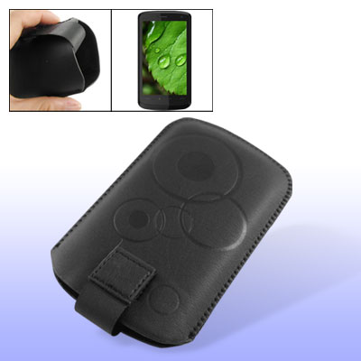 Flannel Faux Leather Pull Up Pouch Black for HTC Touch HD