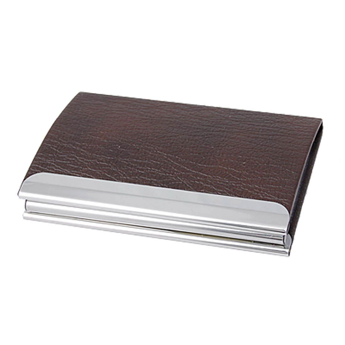 Textured Chocolate Silver Tone Magnetic Card Case Holder