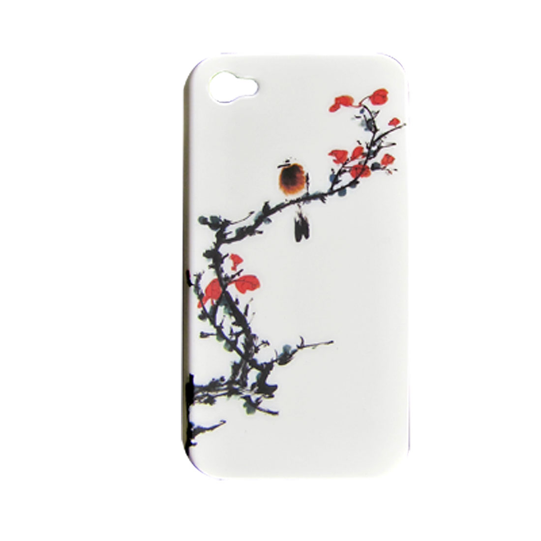 Red Plum Blossom Design White Hard Back Shell for iPhone 4 4G
