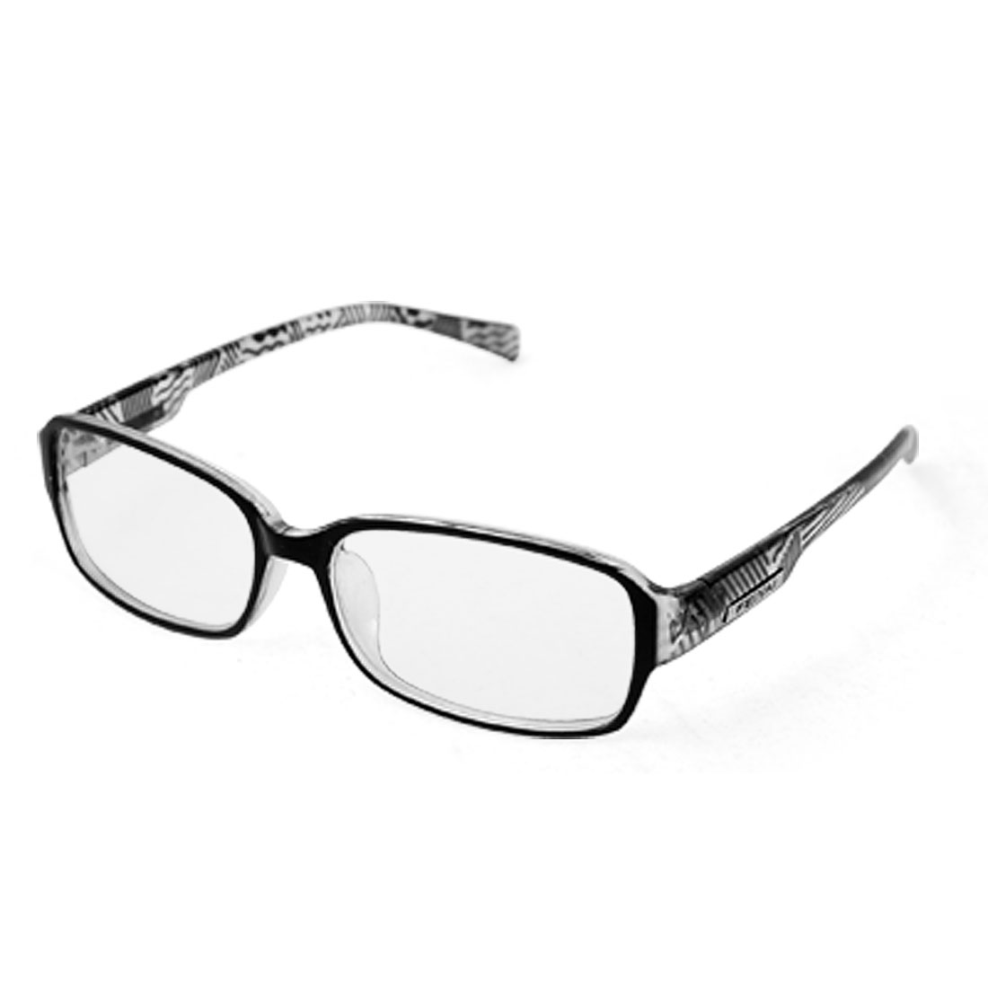 Unisex Black Clear Full Rim Frame Plastic Arms Glasses