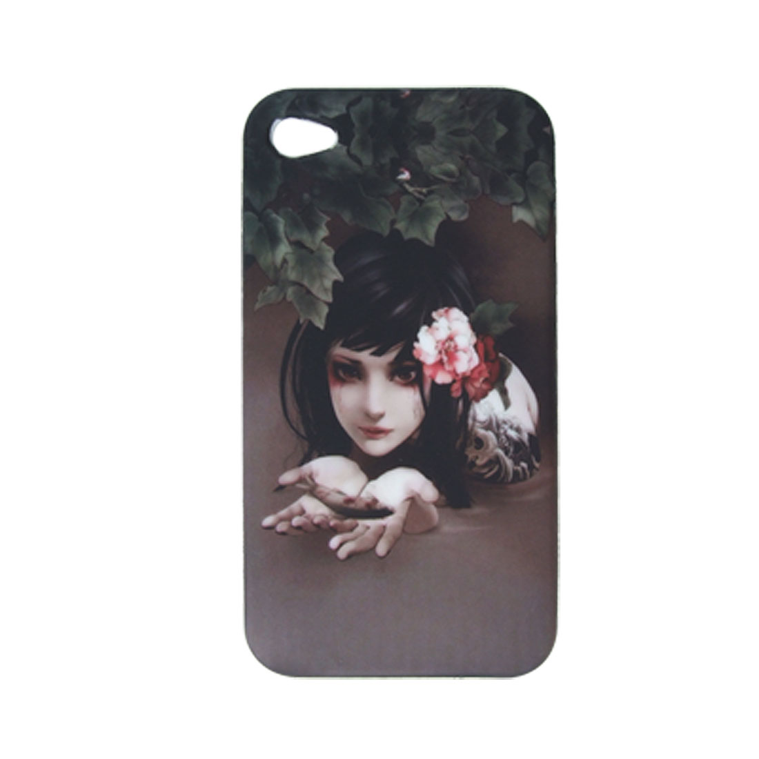 Non-mainstream Girl Printed Soft Plastic Skin for iPhone 4 4G