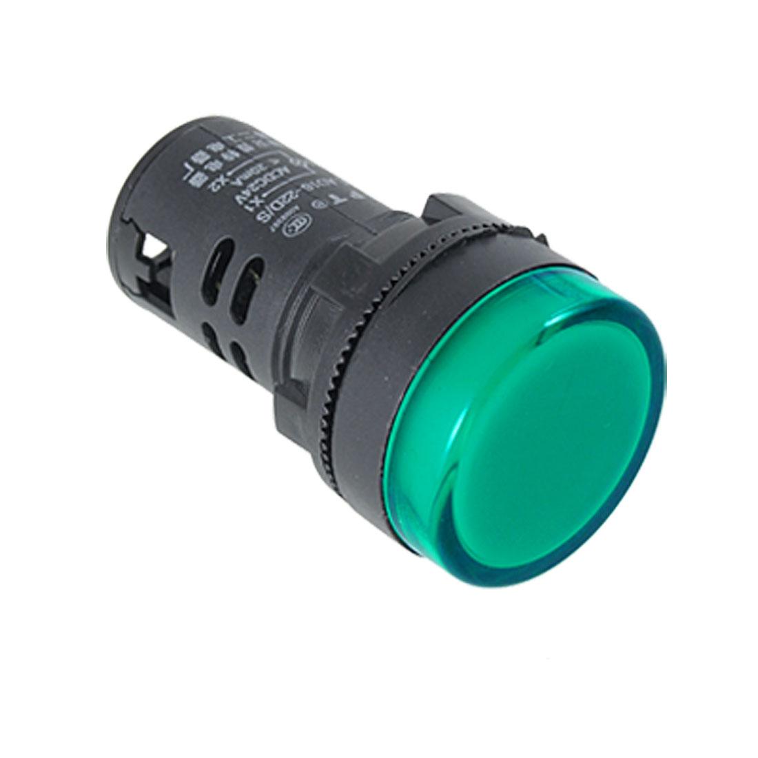 AC 220V LED Panel Power Indicator Light Pilot Signal Lamp AD16-22DS Green Black