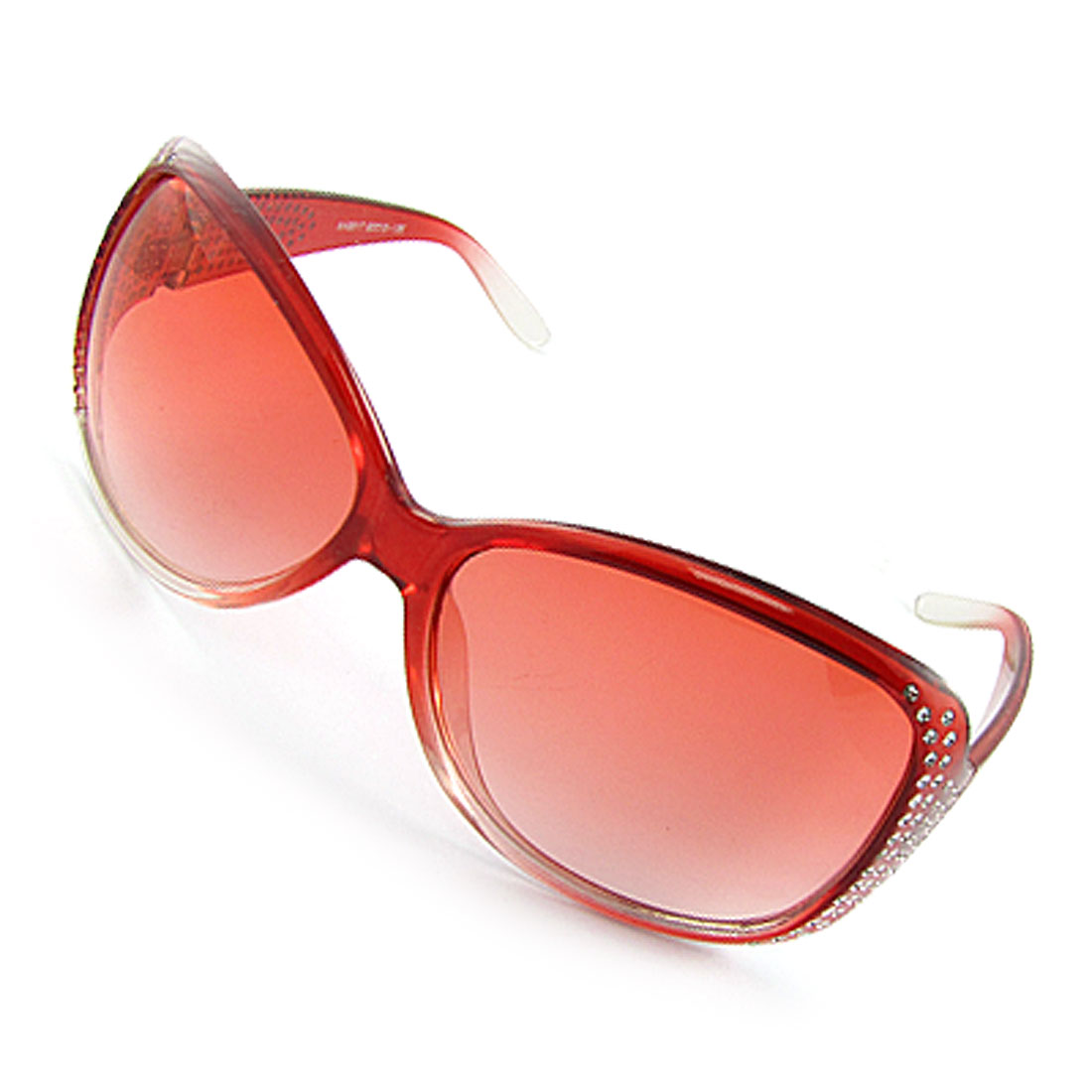 Ladies Gradient Tinted Lens Clear Red Frame Sunglasses