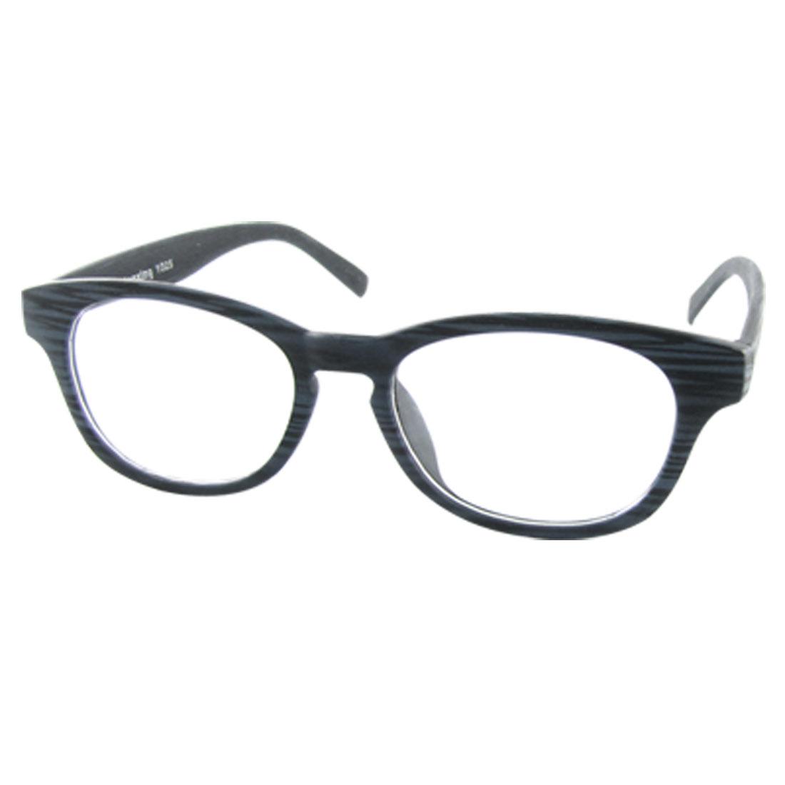 Oval Clear Plain Lens Blue Arm Wood Grain Style Eyewear