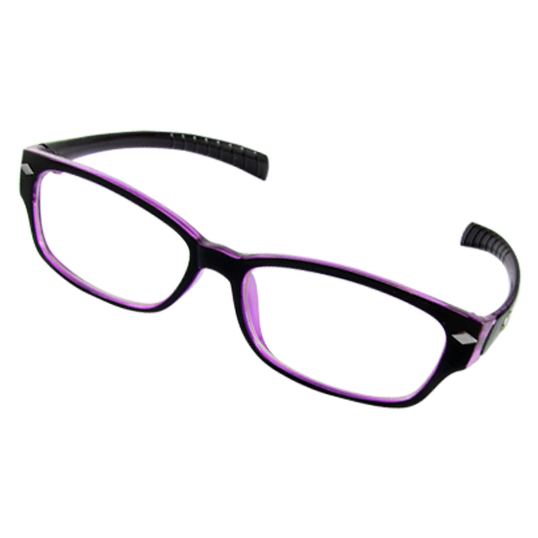 Non-slip Black Purple Frame UV Protection Plain Glasses