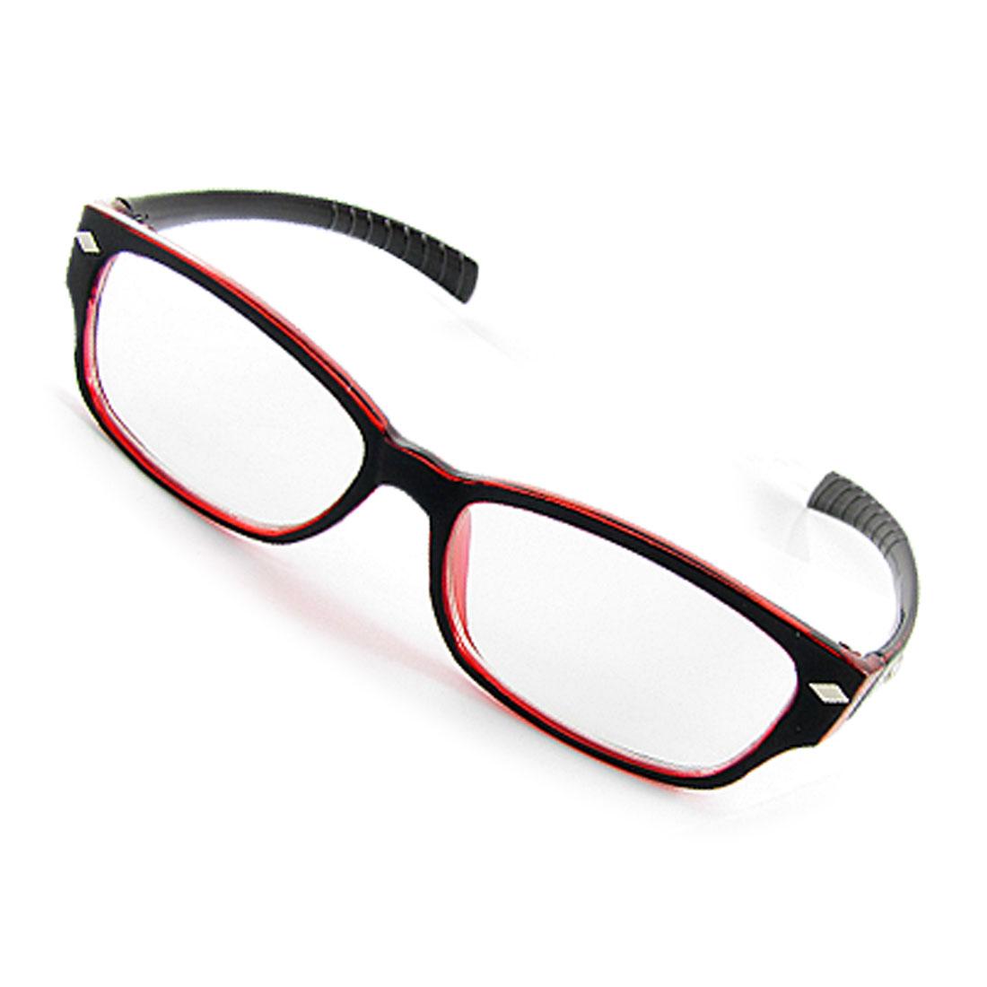 Black Red Rim Clear Lens UV Protection Plain Glasses