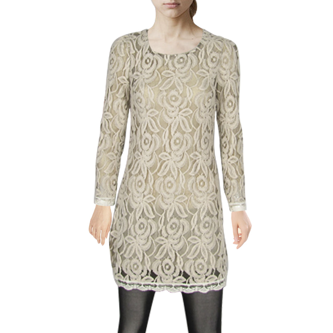 Scoop Neck Long Sleeve Lace Edge Lining Autumn Dress for Lady XS