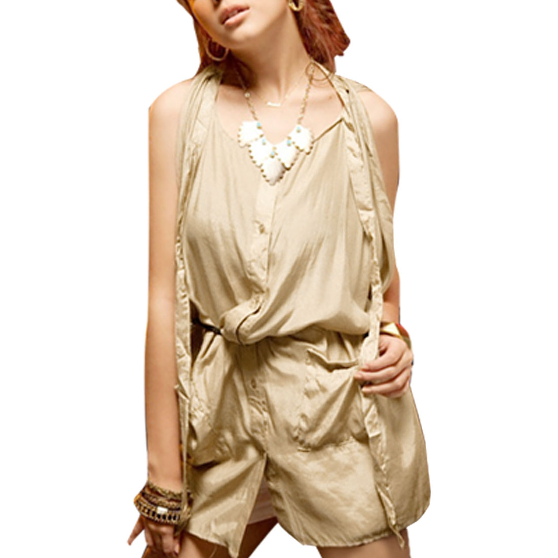 Round Neck Single Breasted Beige Long Blouse Top for Lady S